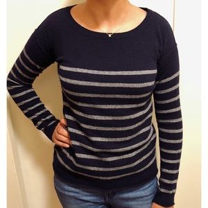 VINCE Navy Blue Stripe Sweater XS Cashmere/Wool